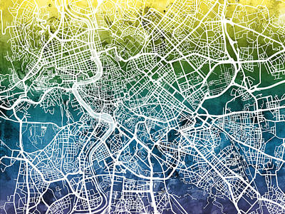 Rome Wall Art - Digital Art - Rome Italy City Street Map by Michael Tompsett