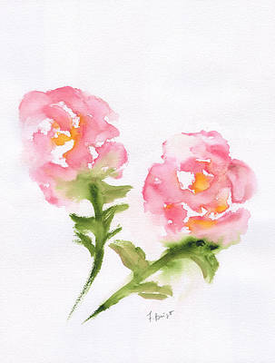 Painting - 2 Roses Abstract by Frank Bright