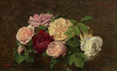 Painting - Roses De Nice On A Table by Henri Fantin-Latour