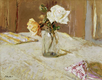 Nabis Painting - Roses In A Glass Vase by Edouard Vuillard