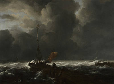 Painting - Rough Sea At A Jetty by Jacob van Ruisdael