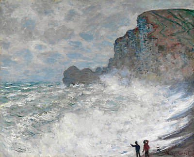 Crashing Wave Painting - Rough Weather At Etretat by Claude Monet