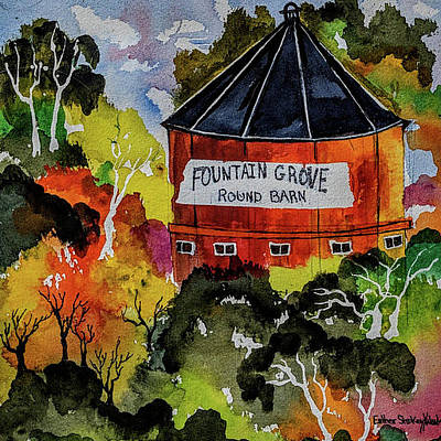 Painting - Round Barn ,santa Rosa by Esther Woods