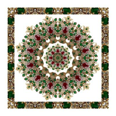 Digital Art - Ruby And Emerald Kaleidoscope by Charmaine Zoe