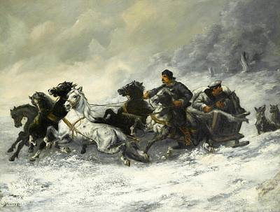 Adolf Painting - Running From The Wolves by Adolf Baumgartner