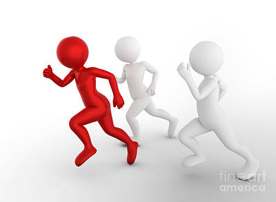 Ambition Photograph - Running To Be The First And Win. Toon Men Compete, Conceptual by Michal Bednarek