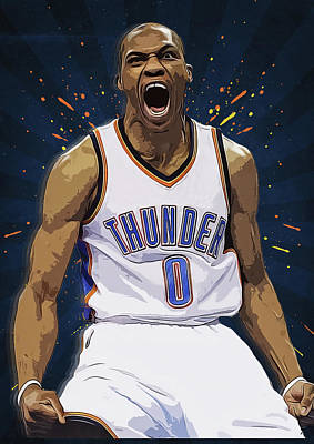 Lebron James Digital Art - Russell Westbrook by Semih Yurdabak