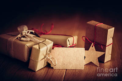 Box Photograph - Rustic Retro Gift, Present Boxes With Tag. Christmas Time, Eco Paper Wrap. by Michal Bednarek