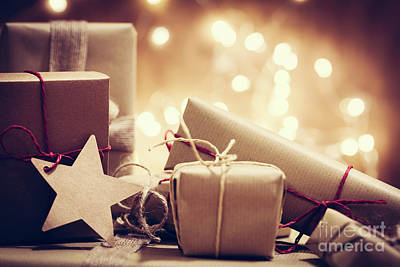 Box Photograph - Rustic Retro Gifts, Present Boxes On Glitter Background. Christmas Time by Michal Bednarek