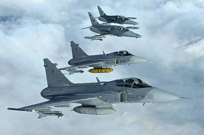 Photograph - 2 Saab Jas 39 Gripen And 2  Aero L159 Of The Czech Air Force Based At Afb Caslav Inflight by Paul Fearn