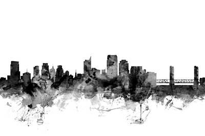 Sacramento Digital Art - Sacramento California Skyline by Michael Tompsett