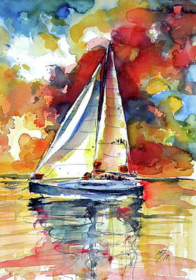Painting - Sailboat At Sunset by Kovacs Anna Brigitta