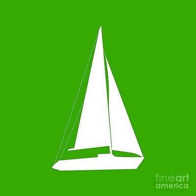Sailboat In Green And White Art Print