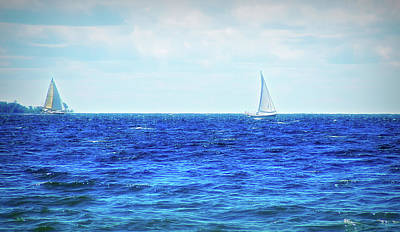 Photograph - 2 Sailboats City Flare by Aimee L Maher Photography and Art Visit ALMGallerydotcom