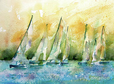 Painting - Sailboats On Shimmer Lagoon by Lynne Furrer