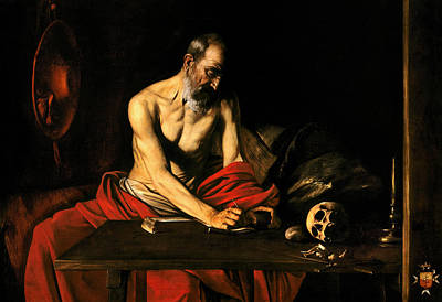 Painting - Saint Jerome Writing by Caravaggio