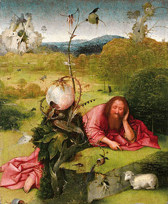 Lamb Painting - Saint John The Baptist In The Desert by Hieronymus Bosch
