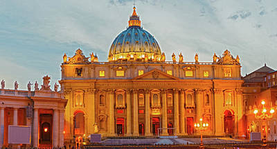 Lucille Ball Royalty Free Images - Saint Peters Basilica in Vatican City at Dusk, Rome Royalty-Free Image by Marek Poplawski
