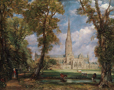 Architectural Painting - Salisbury Cathedral From The Bishop's Grounds by John Constable