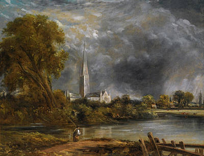 Constable Painting - Salisbury Cathedral From The Meadows by John Constable