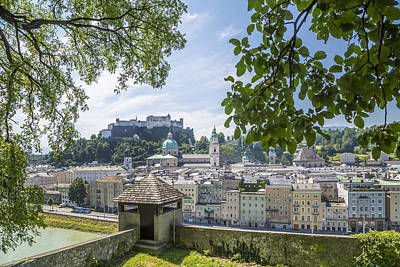 Salzburg Gorgeous Old Town With Citywall Art Print by Melanie Viola