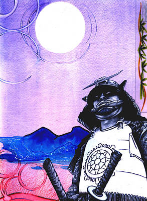 Samurai  Art For Seven Card Samurai Art Print by Chris Montecalvo