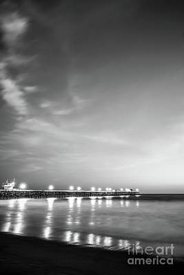 San Clemente Beach Photograph - San Clemente Pier Black And White Picture by Paul Velgos