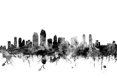 San Diego Digital Art - San Diego California Skyline by Michael Tompsett