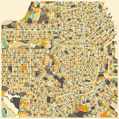 Map Art Digital Art - San Francisco Map by Jazzberry Blue