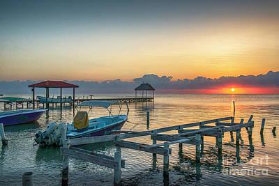 Photograph - San Pedro Belize Sunrise by David Zanzinger