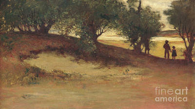 Massachusetts Coast Painting - Sand Bank With Willows, Magnolia by William Morris Hunt