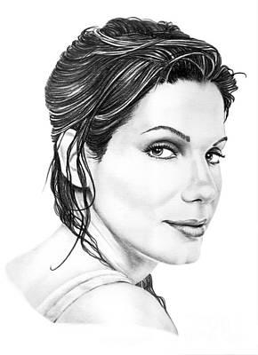 Murphy Drawing - Sandra Bullock by Murphy Elliott
