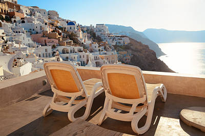 Photograph - Santorini Island Leisure Life by Songquan Deng
