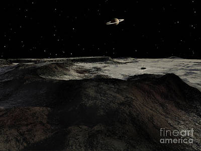 Saturn Seen From The Surface Art Print by Ron Miller
