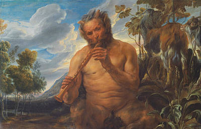 Painting - Satyr Playing The Pipe  by Jacob Jordaens