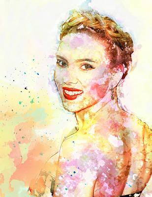 Scarlett Johansson Print by Elena Kosvincheva
