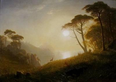 Yosemite Painting - Scene  In  Yosemite  Valley by MotionAge Designs