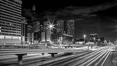 Photograph - scenes around city of CHicago Illinois at night by Alex Grichenko
