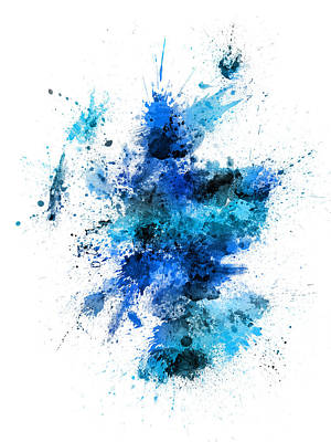 Scotland Digital Art - Scotland Paint Splashes Map by Michael Tompsett
