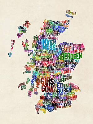 Scottish Digital Art - Scotland Typography Text Map by Michael Tompsett