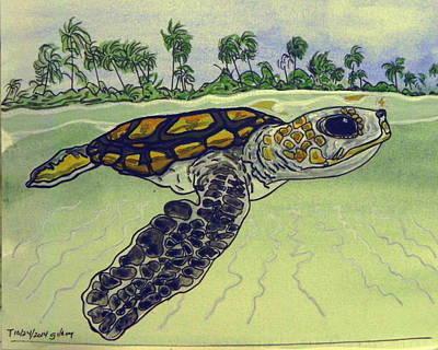 Sea Turtle Baby Art Print by W Gilroy