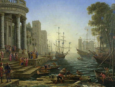 Church Painting - Seaport With The Embarkation Of Saint Ursula by Claude Lorrain