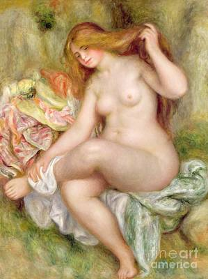 Naked Woman Painting - Seated Bather by Pierre Auguste Renoir
