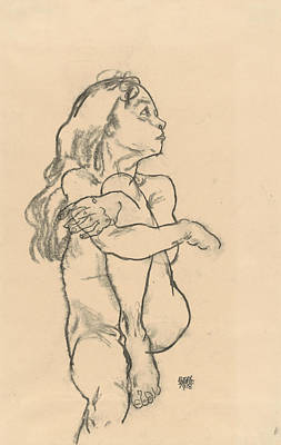 Schiele Drawing - Seated Nude Girl Clasping Her Left Knee by Egon Schiele