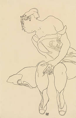 Drawing - Seated Woman In Corset And Boots by Egon Schiele