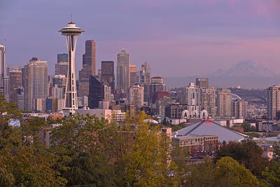 Seattle Skyline At Sunset Washington State. Original by Gino Rigucci
