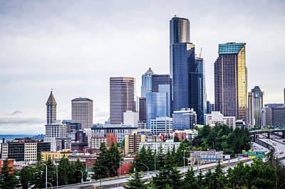 Photograph - Seattle Washington City Skyline Early Morning by Alex Grichenko