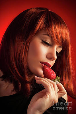Photograph - Seductive Female With Strawberry by Anna Om