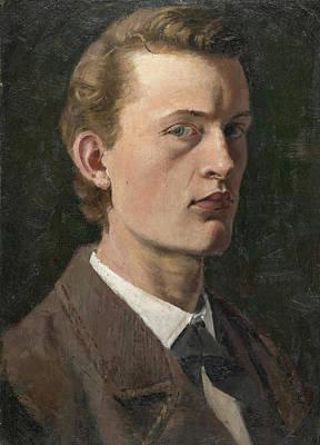 Self Portrait Painting - Self-portrait by Edvard Munch