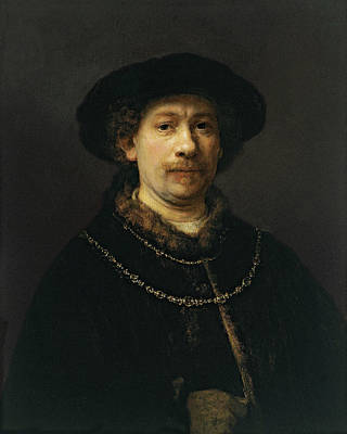 Self Shot Painting - Self-portrait Wearing A Hat And Two Chains by Rembrandt van Rijn